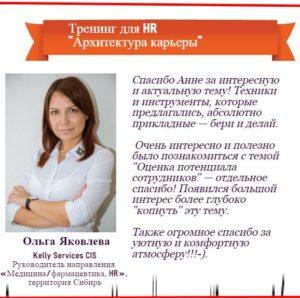 """Отзыв о тренинге для HR """"Архитектура карьеры"""" Анна Татьянина"""